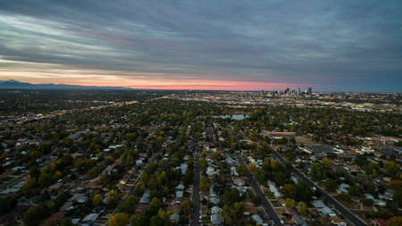 denver buildings: Aerial view of residential neighborhood with view of downtown Denver.