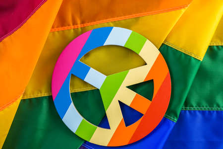 Rainbow Gay Pride flag with Peace sign.