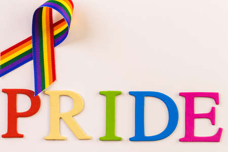 Rainbow Gay Pride sign on a white background.