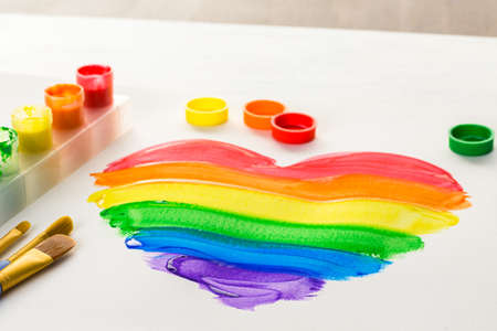 nad made: Painting Rainbow Gay Pride heart on a white paper.