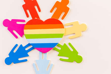 Rainbow Gay Pride male nad female cutouts on a white background. Stock Photo