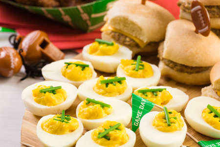 Football deviled eggs for Super Bowl party.
