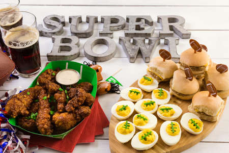 Snacks for watching a football game. Super Bowl day party.