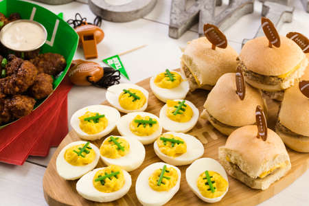 finger food: Snacks for watching a football game. Super Bowl day party.