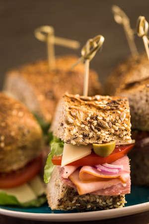 Fresh sub sandwich on multigrain bread.