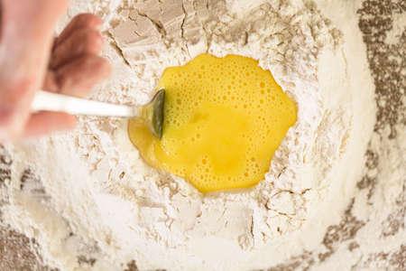 Preparing dough for home made pasta. Stock Photo