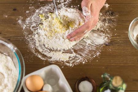 preparing dough: Preparing dough for home made pasta. Stock Photo