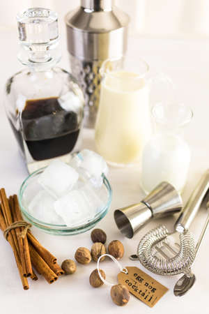 Ingredients for eggnog cocktail for holiday party. Stock Photo