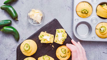 Step by step. Flat lay. Freshly baked slicy jalapeno cornbread muffins.