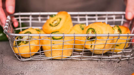 Step by step. Spicy jalapeno cornbread muffins in wired basket.