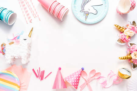 Kids Birthday party supplies on a white background.