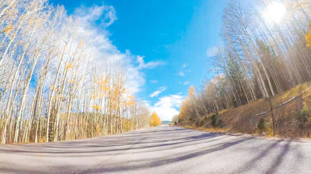 Driving on mountain highway 67 to Cripple Creek from Victor in Autumn. Stock Photo - 111198551