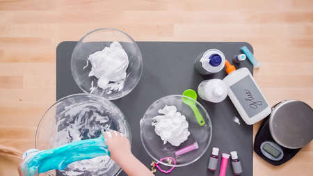 Step by step. Flat lay. Kids project with colorful fluffy slime. Stok Fotoğraf