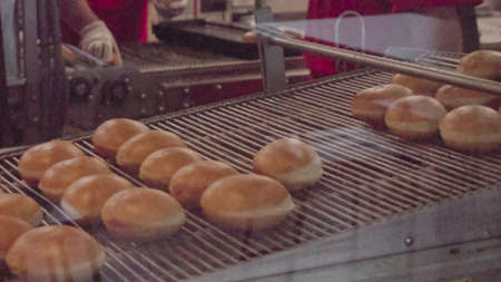 Industrial production of donuts by machine. Фото со стока