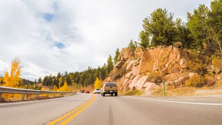 Colorado Springs, Colorado, USA-October 6, 2018 - Driving on mountain highway 67 to Colorado Springs in Autumn. Editöryel