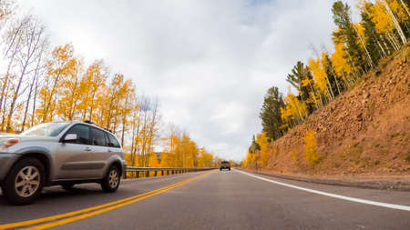 Colorado Springs, Colorado, USA-October 6, 2018 - Driving on mountain highway 67 to Colorado Springs in Autumn. Editorial