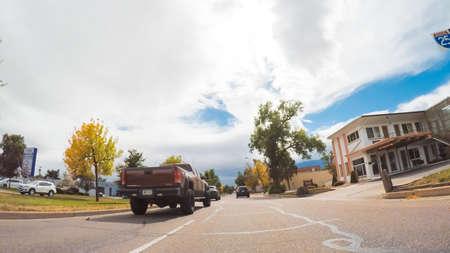 Colorado Springs, Colorado, USA-October 6, 2018 - Driving through downtown of Colorado Springs in Autumn. Stock Photo - 111813584