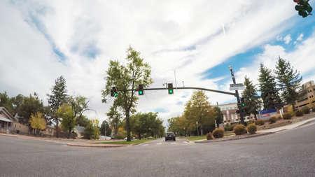 Colorado Springs, Colorado, USA-October 6, 2018 - Driving through historical residential neighborhood in Autumn.