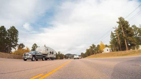 Colorado Springs, Colorado, USA-October 6, 2018 - Driving on mountain highway 24 to Colorado Springs in Autumn.
