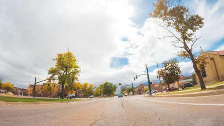 Colorado Springs, Colorado, USA-October 6, 2018 - Driving through downtown of Colorado Springs in Autumn. Stock Photo - 111813656