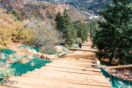 Colorado Springs, Colorado, USA-October 17, 2018 - Extreme nature trail with steep mountain incline for advance hikers. Editöryel