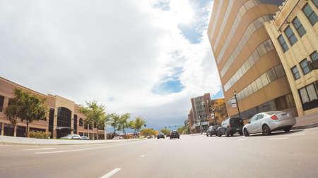 Colorado Springs, Colorado, USA-October 6, 2018 - Driving through downtown of Colorado Springs in Autumn. Stock Photo - 111813737