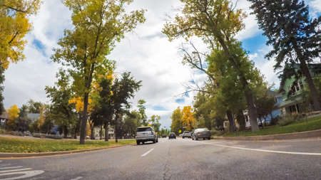 Colorado Springs, Colorado, USA-October 6, 2018 - Driving through historical residential neighborhood in Autumn.