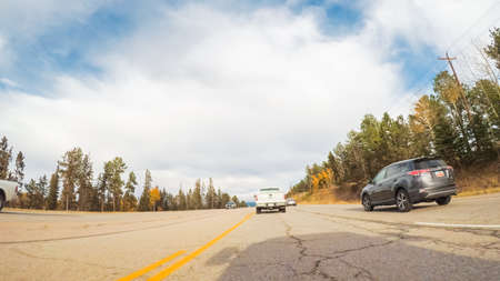 Colorado Springs, Colorado, USA-October 6, 2018 - Driving on mountain highway 24 to Colorado Springs in Autumn.
