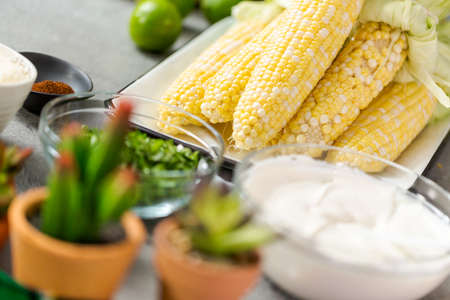 Fresh ingredients for preparing grilling mexican street corn elote. 版權商用圖片