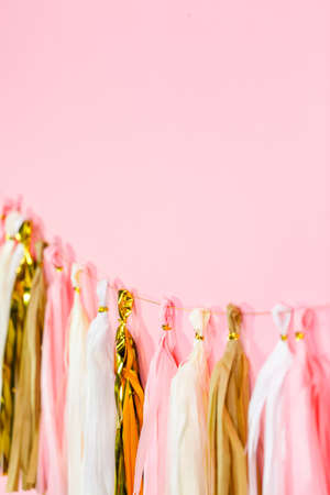 Paper tassel garland on a pink wall at the kids birthday party.