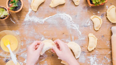 Step by step. Making home made empanadas with different fillings. Stockfoto