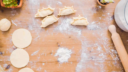 Step by step. Making home made empanadas with sweet filling.