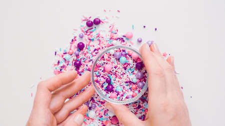 Colorful purple sprinkle blend on a white background.