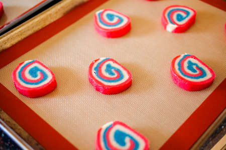 Cookie dough for red white and blue pinwheel sugar cookies.