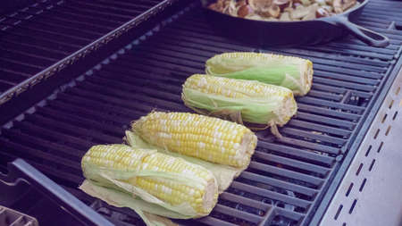 Step by step. Grilling fresh corn on outdoor gas grill. Stock Photo