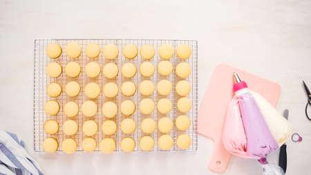Flat lay. Freshly baked small vanilla cupcakes.