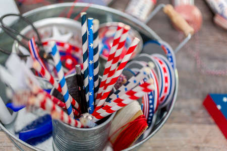Paper firecrackers made from red, white and blue paper for July 4th celebration. Reklamní fotografie - 112535843