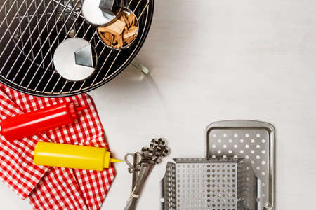 BBQ tools for summer BBQ party. Stock Photo