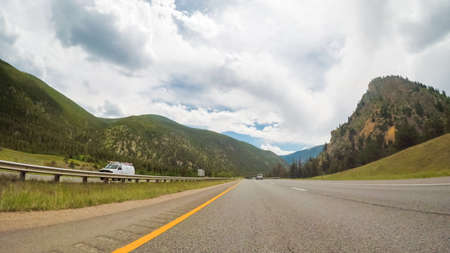 Driving West through the mountains on interstate highway I70.