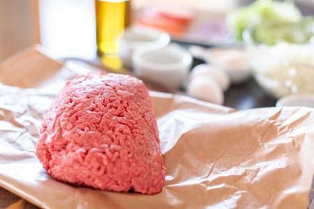 Preparing gourmet burger beef patties for classic burgers.