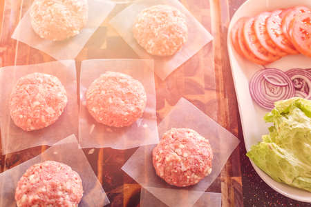 Gourmet burger patties for classic burgers. Stock Photo