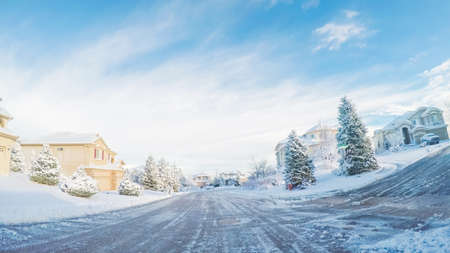 Residential neighborhood after Spring snow storm.