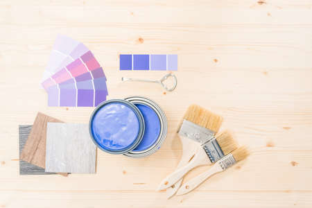 Purple paint and paint brushes for home improvement project.