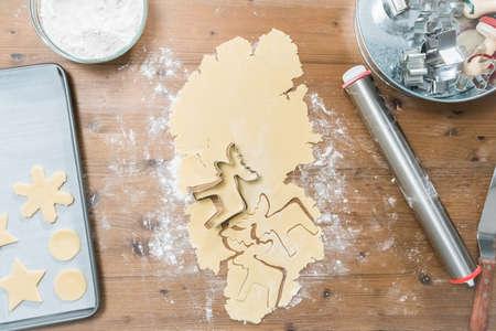 Baking Christmas sugar cookies for Santa. Stock Photo