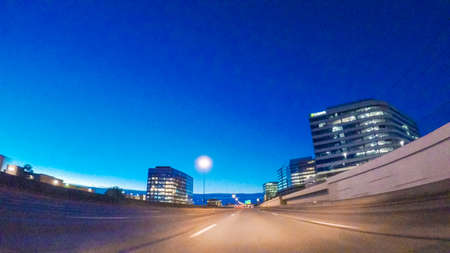 Denver, Colorado, USA-February 3, 2018-POV-Driving on Interstate highway I25 at night. Éditoriale