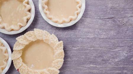 Step by step. Preparing pie crusts for pumpkin pies.