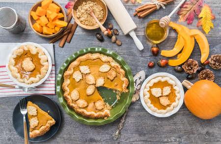 Step by step. Eating slice of freshly baked  pumpkin pie.