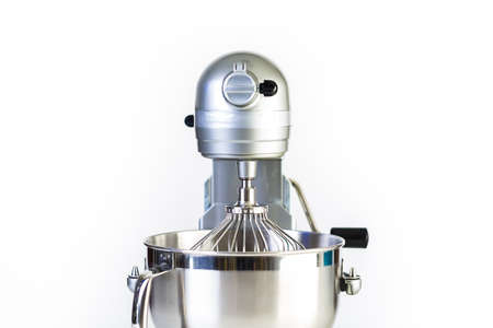 Silver food electric mixer on a white background.