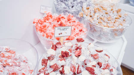 Salt water taffy in small candy shop.