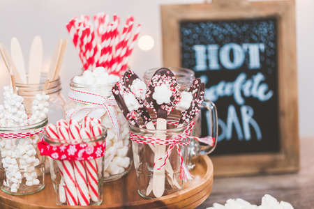 Hot chocolate station with variety of topppings. Stock Photo
